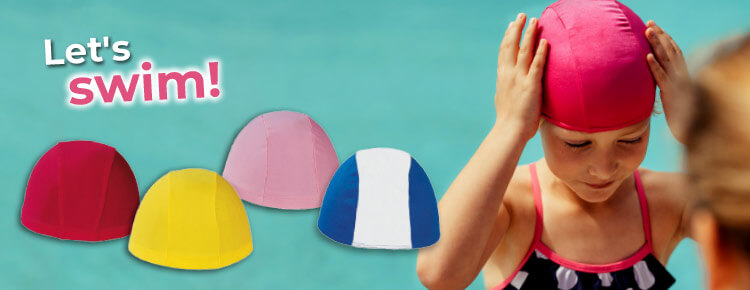 Polyester swimming caps for adults and kids