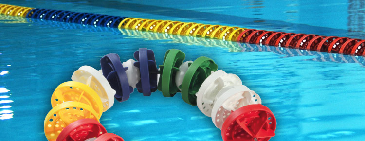 Anti-wave lane ropes for training and competitions