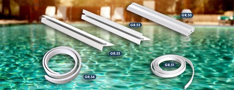 Profili in pvc ed alluminio per il fissaggio del liner