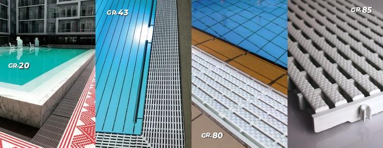 Grilles de piscine parallèles GR. 20 – 43 – 80 – 85
